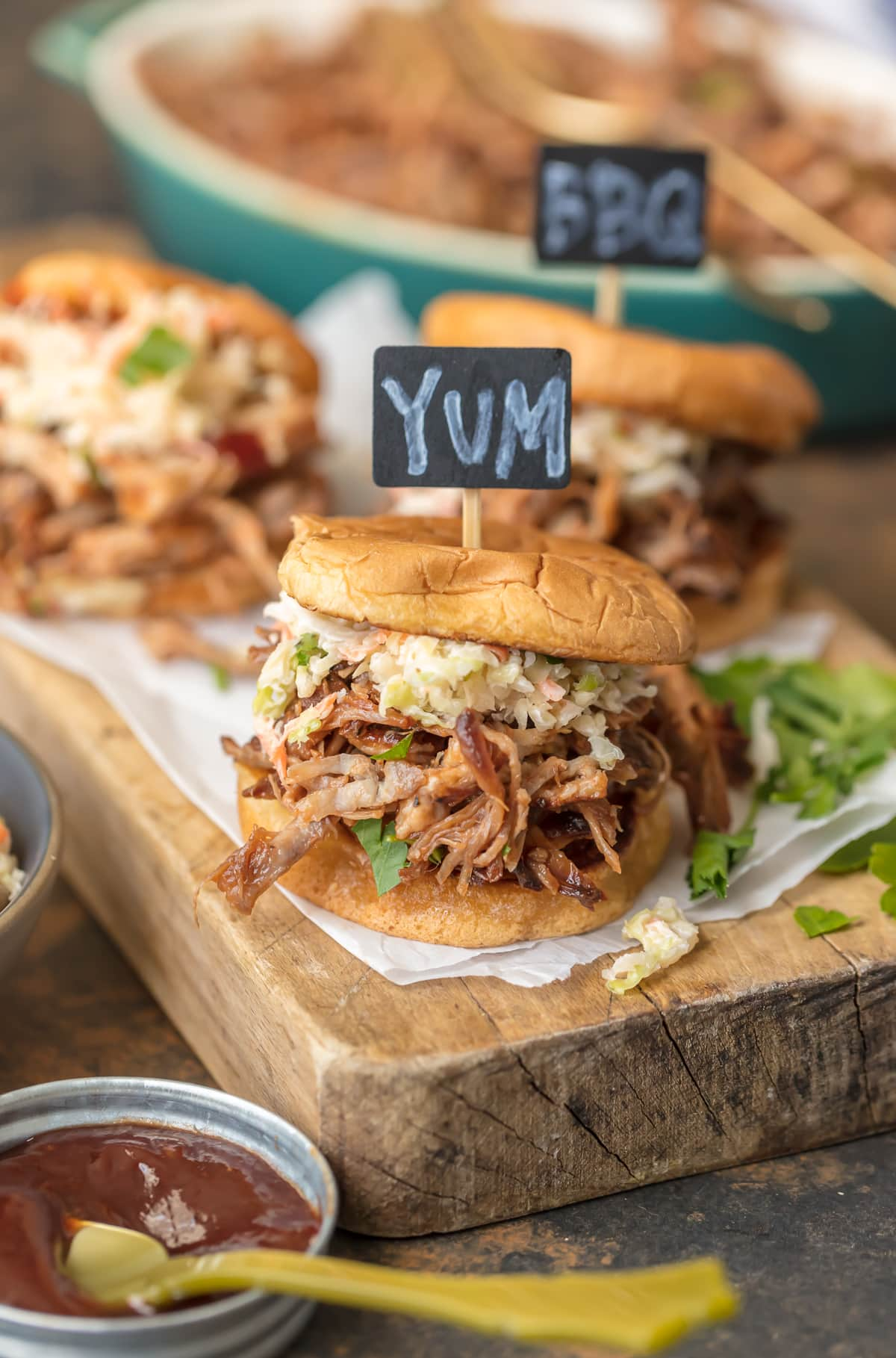 Crockpot BBQ Pork Sandwiches on serving board