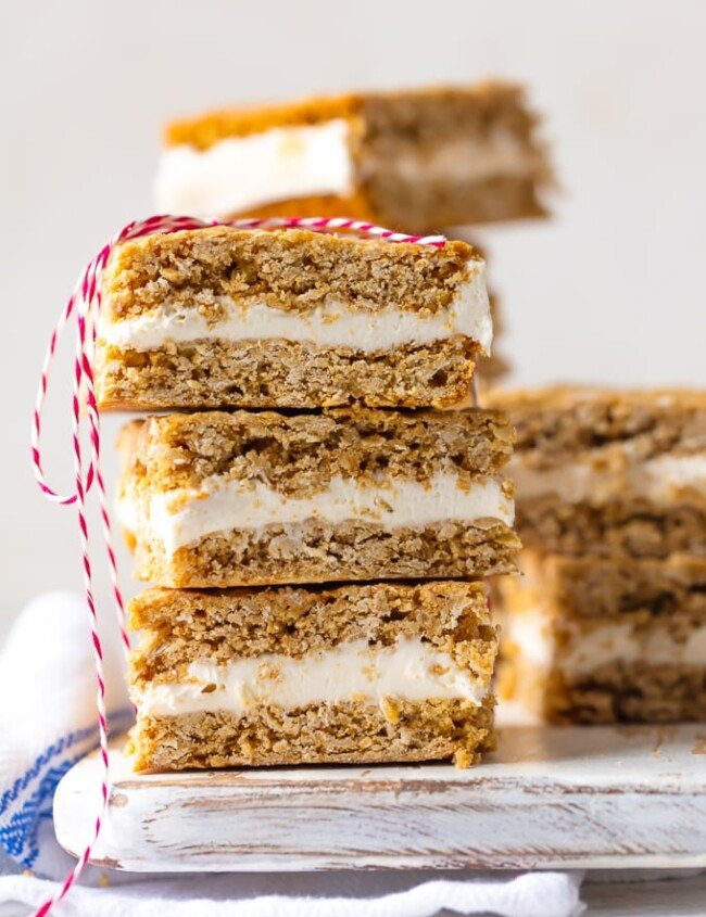 homemade oatmeal cream pie bars stacked on a plate