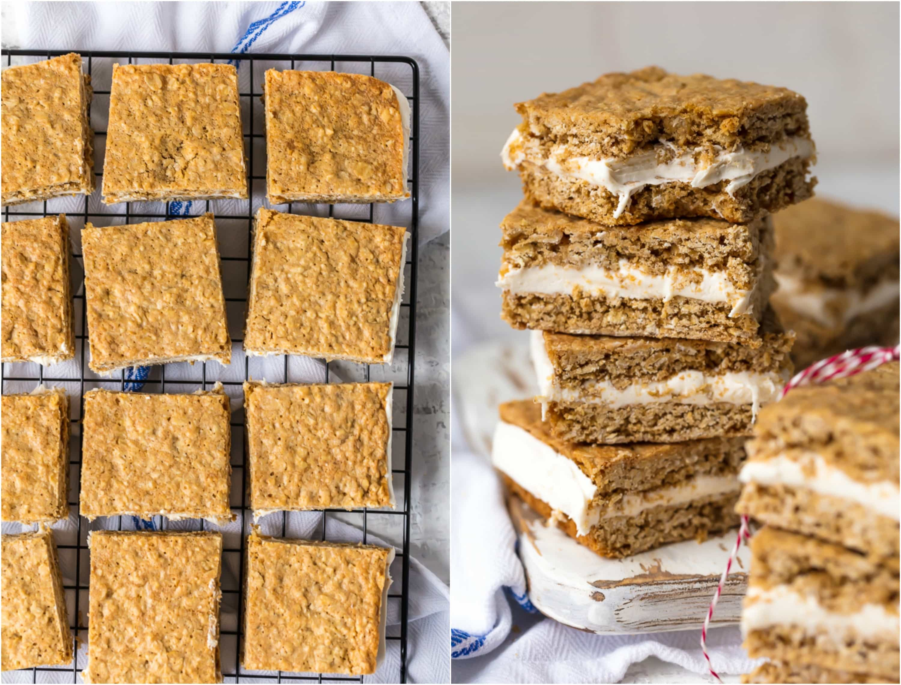 These Homemade Oatmeal Cream Pies are an adult version of a childhood favorite! They're a tasty dream come true, and they're perfect for showing your loved ones just how special they are on Valentine's Day. These Oatmeal Cream Pie Bars have a layer of homemade marshmallow cream icing sandwiched between two perfectly chewy oatmeal cookies, all in bar form! OBSESSED!