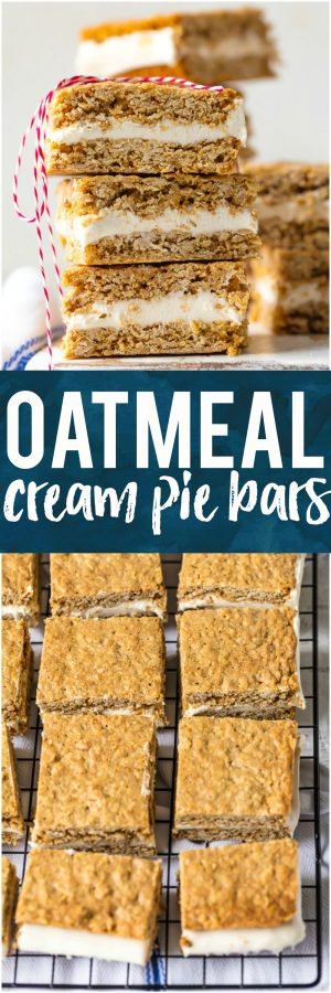 These OATMEAL CREAM PIE BARS are an adult version of a childhood favorite. They're a tasty dream come true perfect for showing your loved ones on Valentine's Day just how special they are. Layer of homemade marshmallow cream icing sandwiched between two perfectly chewy oatmeal cookies, all in bar form! OBSESSED!
