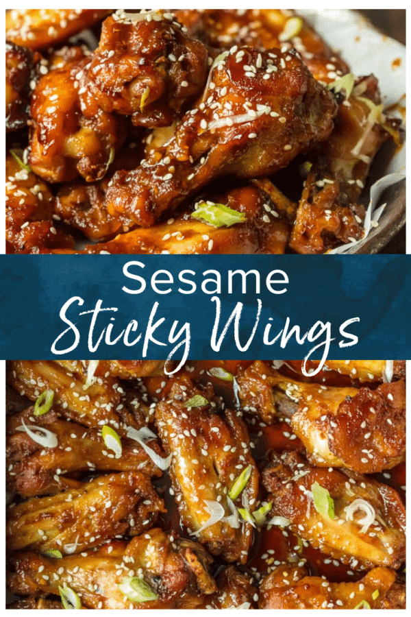 sesame sticky wings pinterest collage