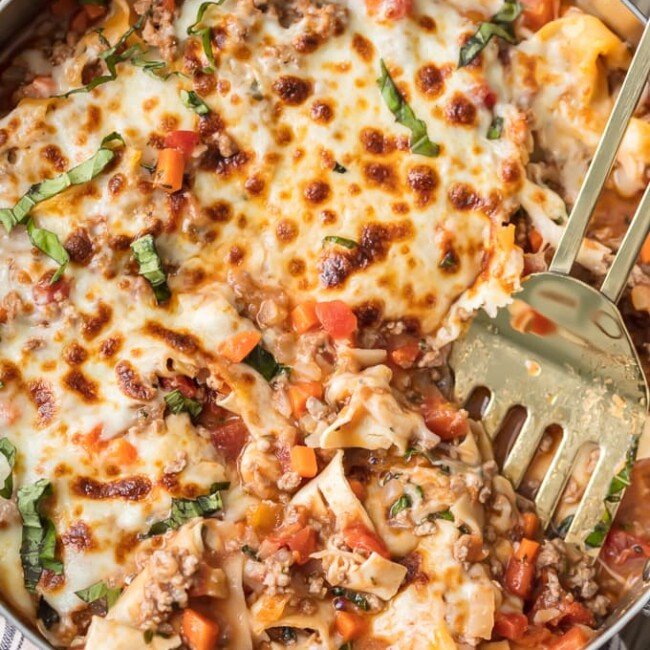 Weight Watchers Lasagna in a bowl with a spatula