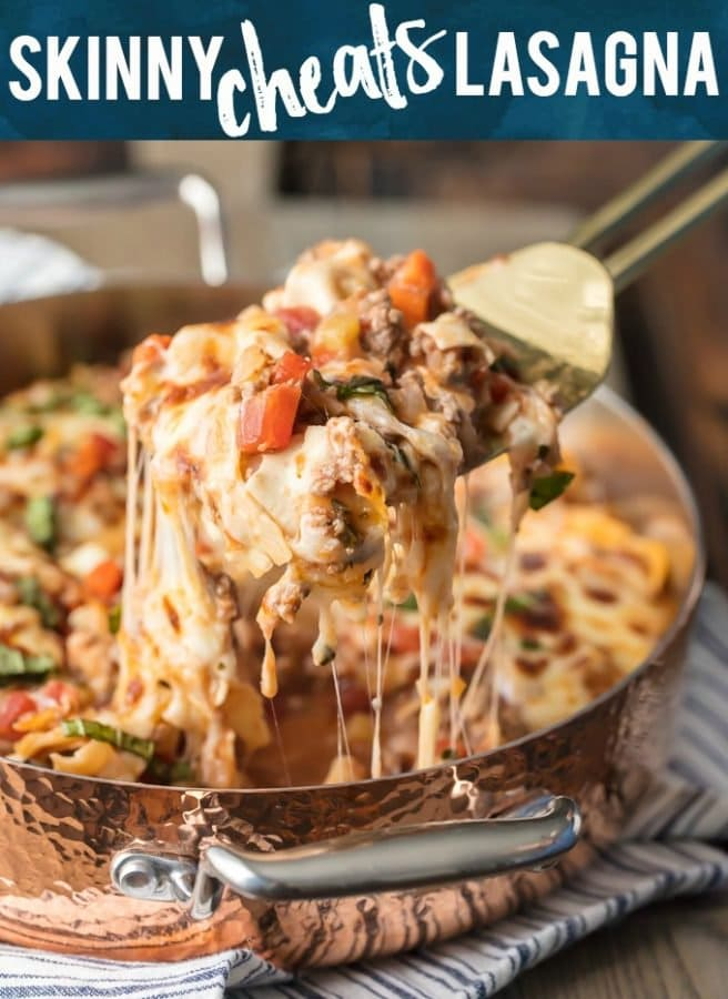 Can you believe this Skinny Cheat's Lasagna is only 8 Weight Watchers Points? It's secretly thickened up with extra vegetables like carrots, zucchini, and celery, making it the perfect healthy comfort food. You'll still feel like you're indulging, without the guilt. We LOVE this recipe!