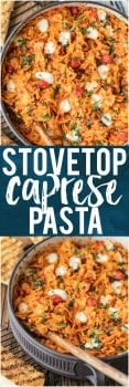 This STOVETOP CAPRESE PASTA is a one pot wonder! So simple, easy, and full of flavor. Our entire family loves this delicious pasta and it couldn't be easier! Loaded with tomatoes, fresh mozzarella, and basil.