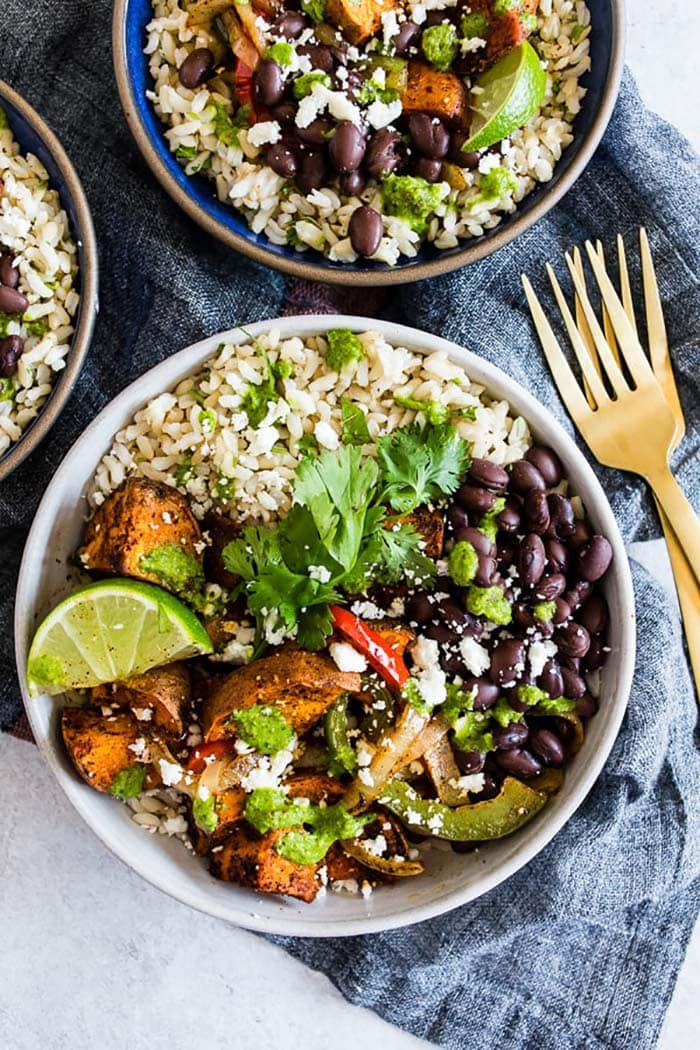 Sweet Potato Black Bean Burrito Bowls | Nutmeg Nanny