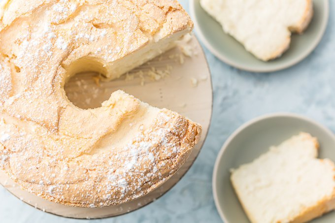 This TRULY EASY ANGEL FOOD CAKE RECIPE is an absolute game changer! No more sifting flour, room temp eggs, stabilizer, cold oven, or crossing your fingers! If you've always wondered how to make angel food cake, then this recipe is perfect for you! It's totally fool proof and just as good as if you slaved all day. My mind is blown!