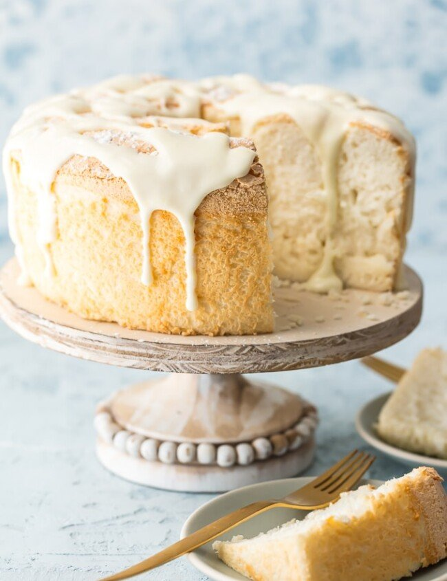 angel food cake on a cake stand