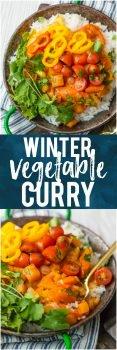 This WINTER VEGETABLE CURRY is the perfect fresh and light vegetarian meal for these cooler temps! Just the right amount of spice and all the colors of the rainbow make up this meal inspired by Indian flavors that the entire family will devour. Great for meal planning!