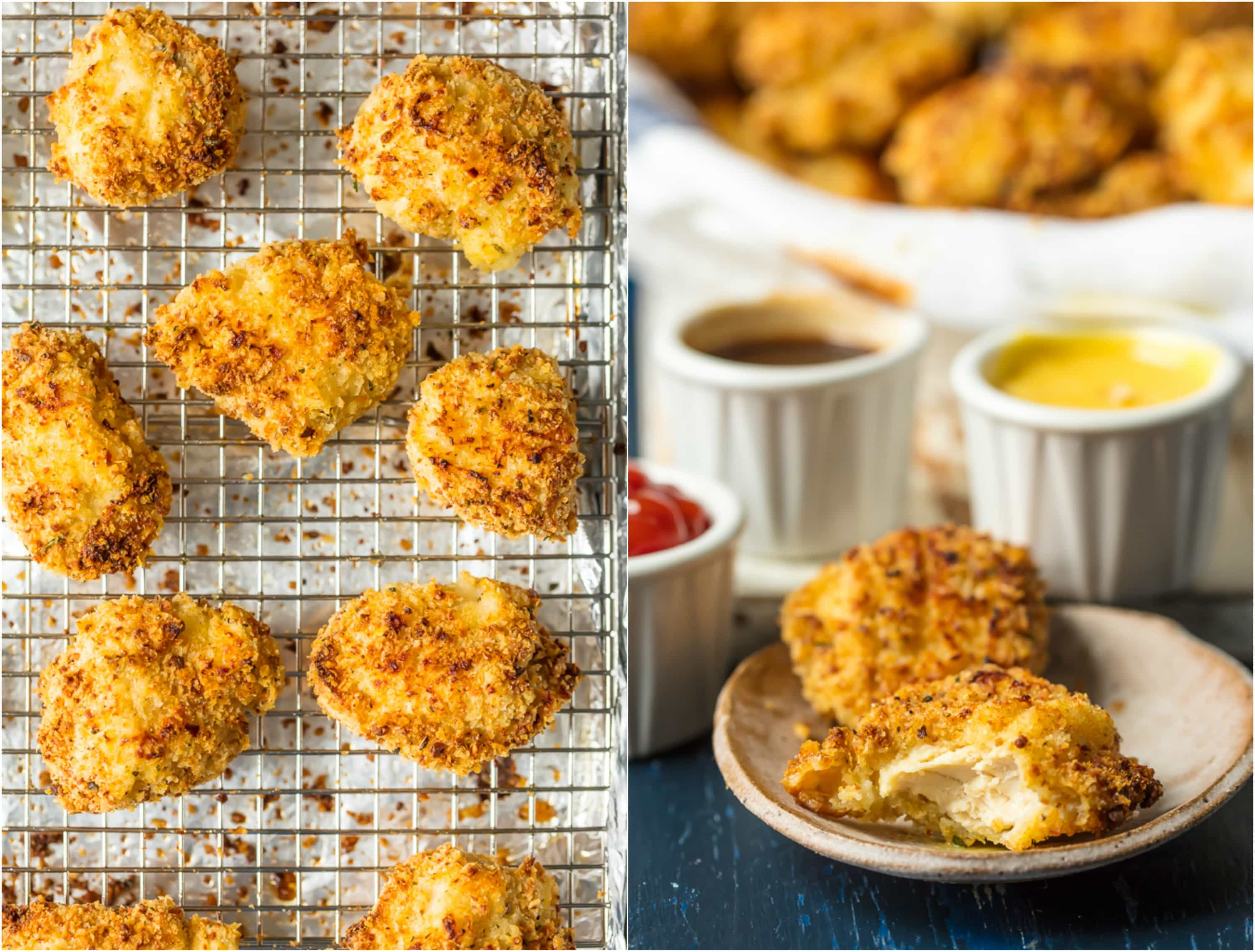 Baked Chicken Nuggets are a must make for any busy family. These BAKED EXTRA CRISPY PARMESAN CHICKEN NUGGETS will blow your mind and become an instant family favorite. Made healthier by baking instead of frying, you'll never miss the grease. Kids and adults will be requesting these flavorful Homemade Chicken Nuggets again and again!