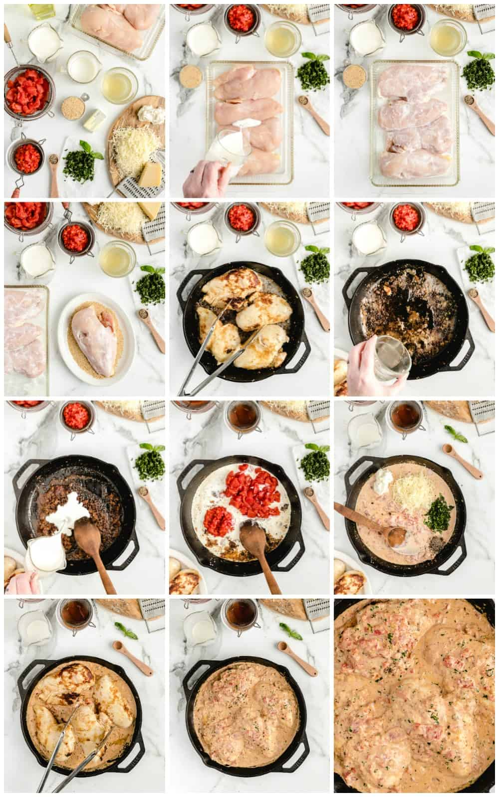 how to make basil cream chicken step by step process shots