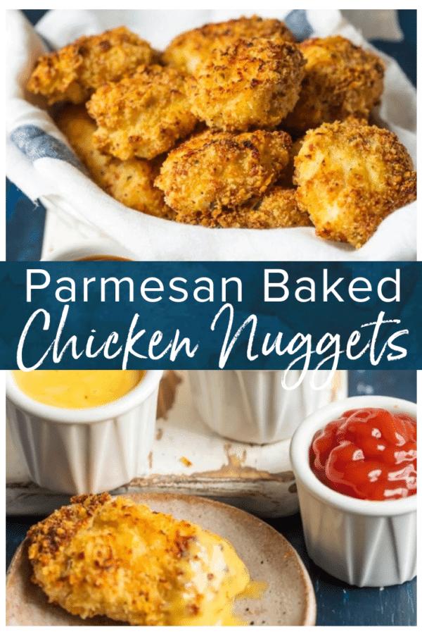 parmesan chicken nuggets pinterest collage