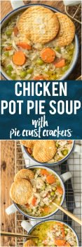 This CHICKEN POT PIE SOUP with PIE CRUST CRACKERS is hearty, delicious, creative, and easy; a favorite family recipe transformed into an unexpected soup! It's one of our favorite comfort food soups for Winter.