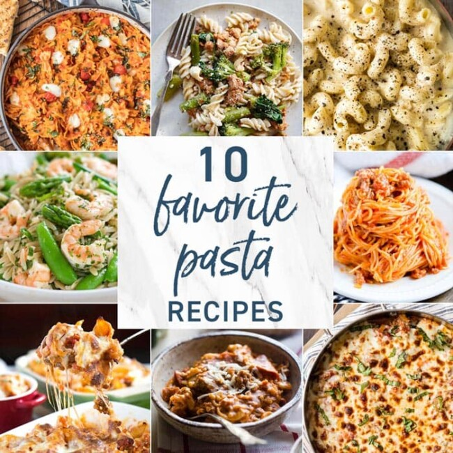 Pasta is a weekly dinnertime staple. Today we're sharing 10 favorite pasta recipes. From hearty vegetarian pastas to a meat lover's pizza inspired pasta, there is a little something for everyone. Most of these recipes can be made ahead of time and reheated later for a super easy meal. Enjoy!