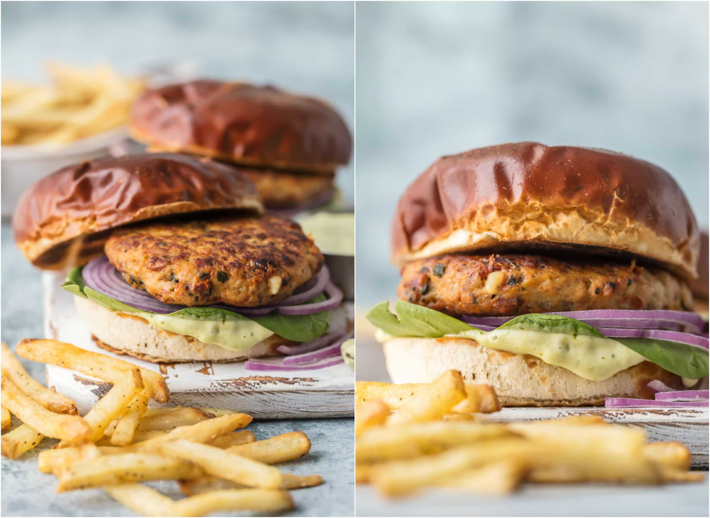 mediterranean chicken burgers with lettuce, onion, and pesto mayo