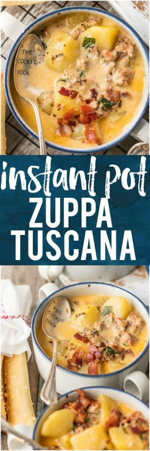 It doesn't get better than this INSTANT POT ZUPPA TUSCANA! We first fell in love with this hearty and creamy soup at Olive Garden but I love this quick pressure cooker version even more. Loaded with sausage, bacon, potatoes, spinach, and so much flavor. I'm so in love with this easy favorite comfort food recipe!