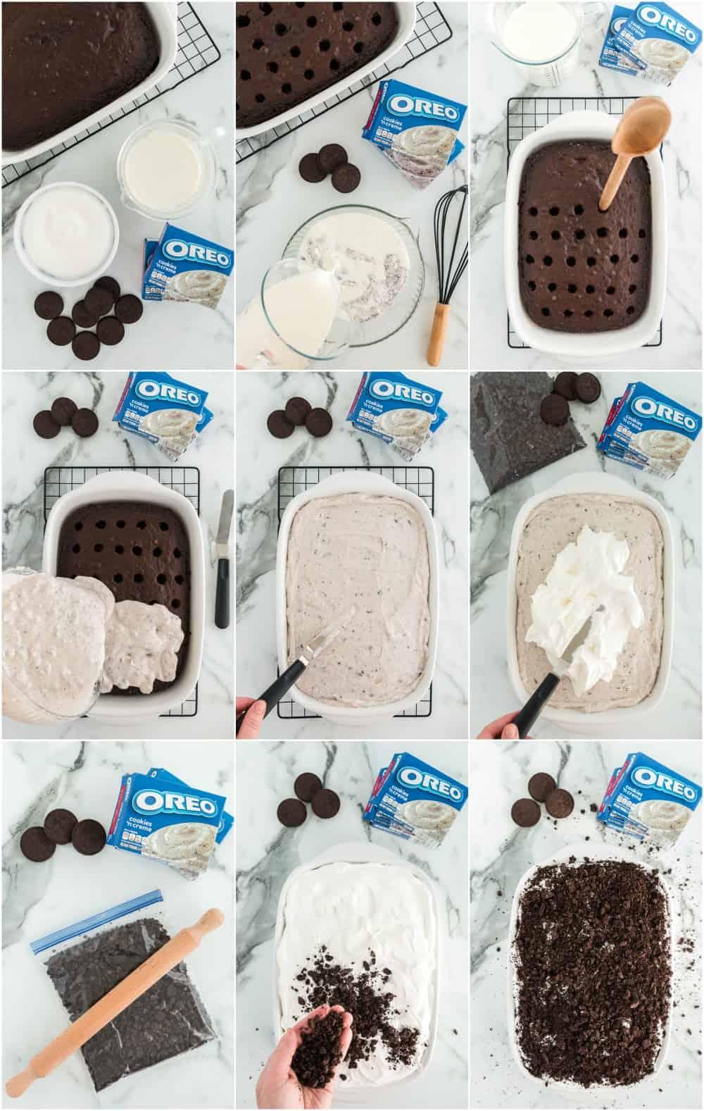 process shots for how to make oreo poke cake