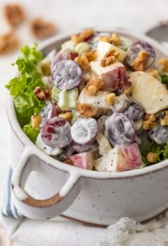Waldorf Salad with Poppyseed Dressing is a delicious, fresh, and healthy twist on a classic side dish. There's something about a Waldorf Salad; fresh fruit, creamy dressing, and crunchy candied walnuts that makes this easy recipe a family favorite for every holiday, especially Easter! I love the addition of Poppyseed dressing for some extra zip and creaminess.