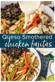 Chicken Fajitas have quickly become a favorite around here, especially thisQueso SmotheredChicken Fajita Recipe! Traditional juicy Chicken Fajitas with all the veggies and spice, grilled to perfection, and smothered in cheese dip. This unique twist on a classic Mexican recipe is sure to please one and all and be requested again and again. Better than any Mexican Restaurant meal!