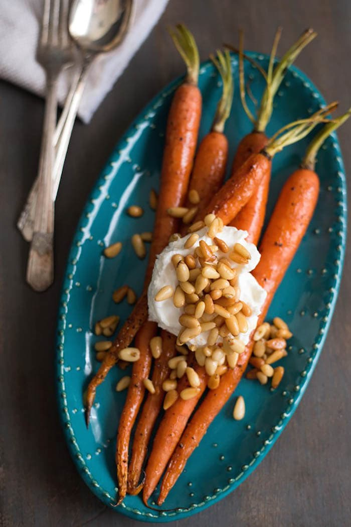 Roasted Glazed Carrots with Greek Yogurt & Buttered Pine Nuts | Foxes Love Lemons