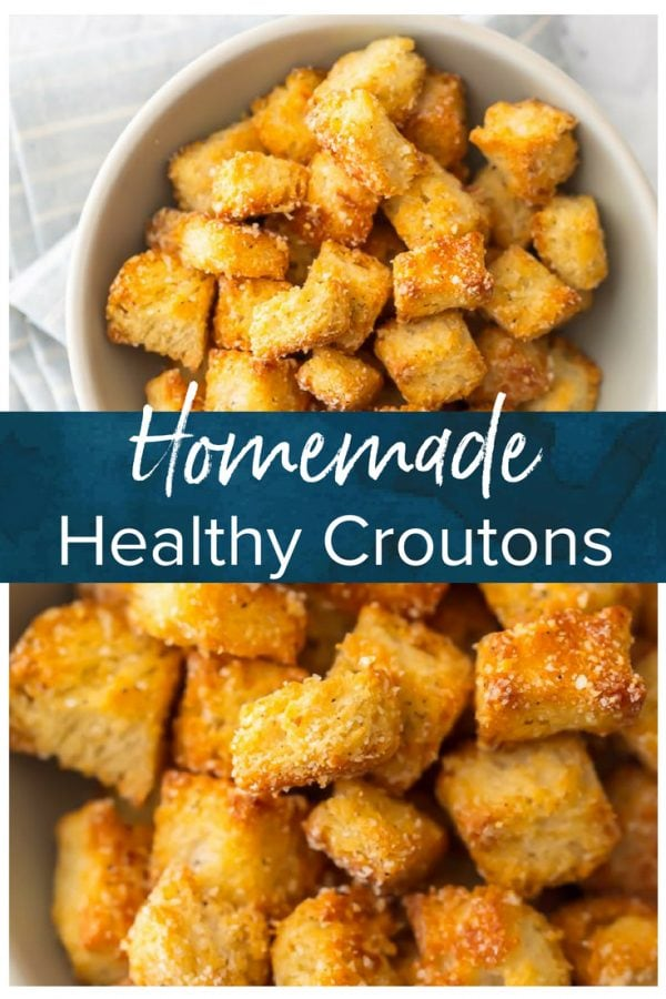 This HOMEMADE CROUTONS RECIPE is super simple.  Impress everyone including yourself with these HEALTHY BAKED CROUTONS! I love that these are BAKED and not fried, making them a healthier alternative to this classic recipe. They're the perfect way to take any salad from good to great.
