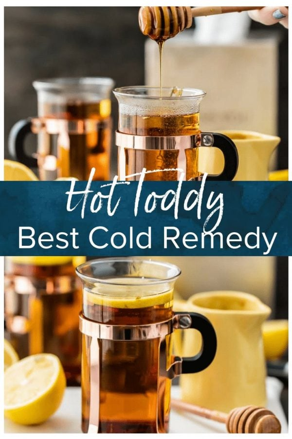 HOT TODDY RECIPE FOR A COLD is my go-to recipe when I'm under the weather with a cough. The best way to get better is with a COLD REMEDY HOT TODDY! A homemade cure for a common cold that's easy to make and much tastier than cough syrup!