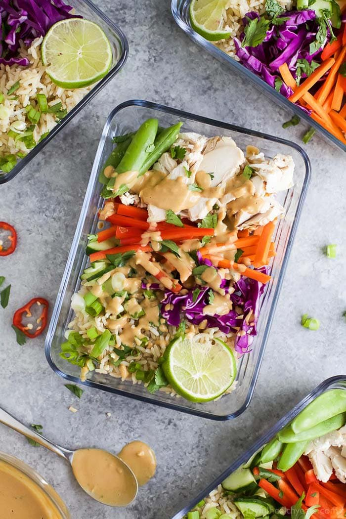 Thai Chicken Grain Bowl with Peanut Dressing | Joyful Healthy Eats
