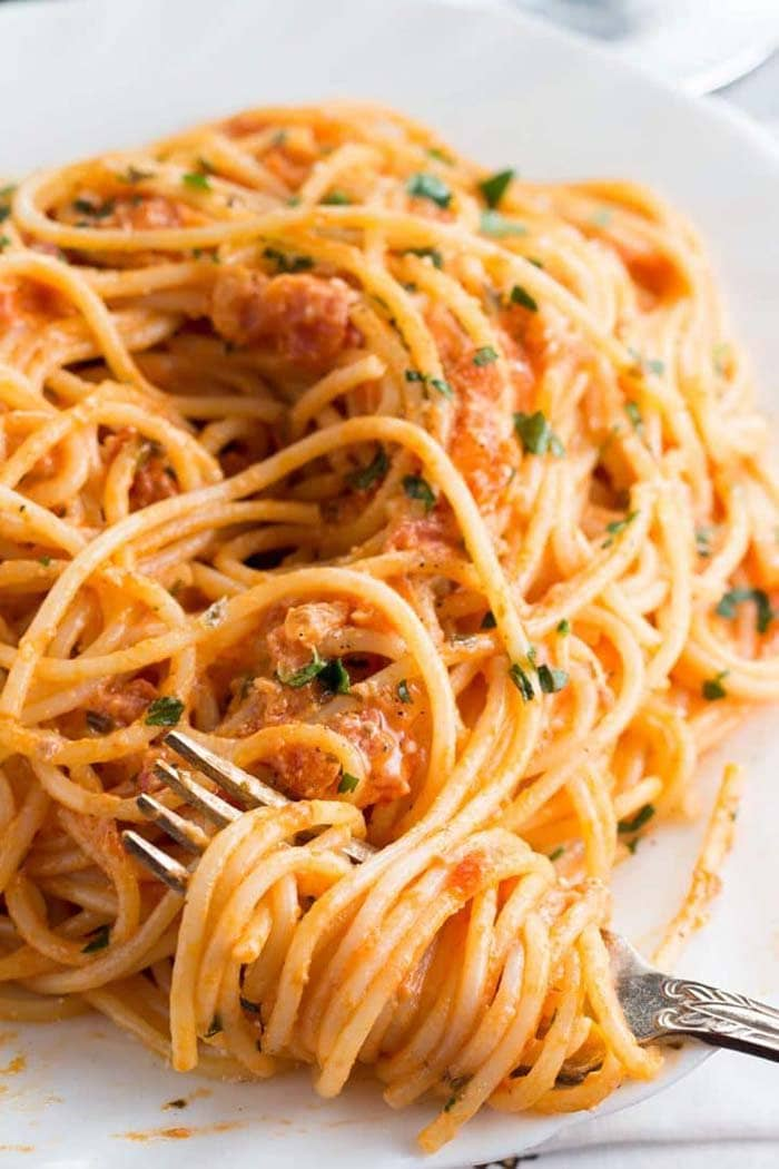 Skinny Spaghetti with Tomato Cream Sauce | Erren's Kitchen