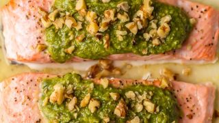 Baked Pesto Salmon Recipe (Best Baked Salmon Recipe!)