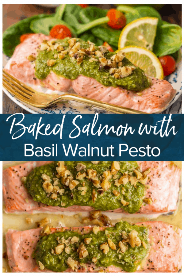 This Baked Pesto Salmon recipe is our favorite simple yet elegant seafood dinner. This Baked Salmon Recipe with Basil Walnut Pesto is bursting with flavor and good fat. The tender flaky salmon is basted in butter, white wine, and lemon juice before baking and then topped with an amazing nutty and rich Basil Walnut Pesto. Best Baked Salmon Recipe ever!