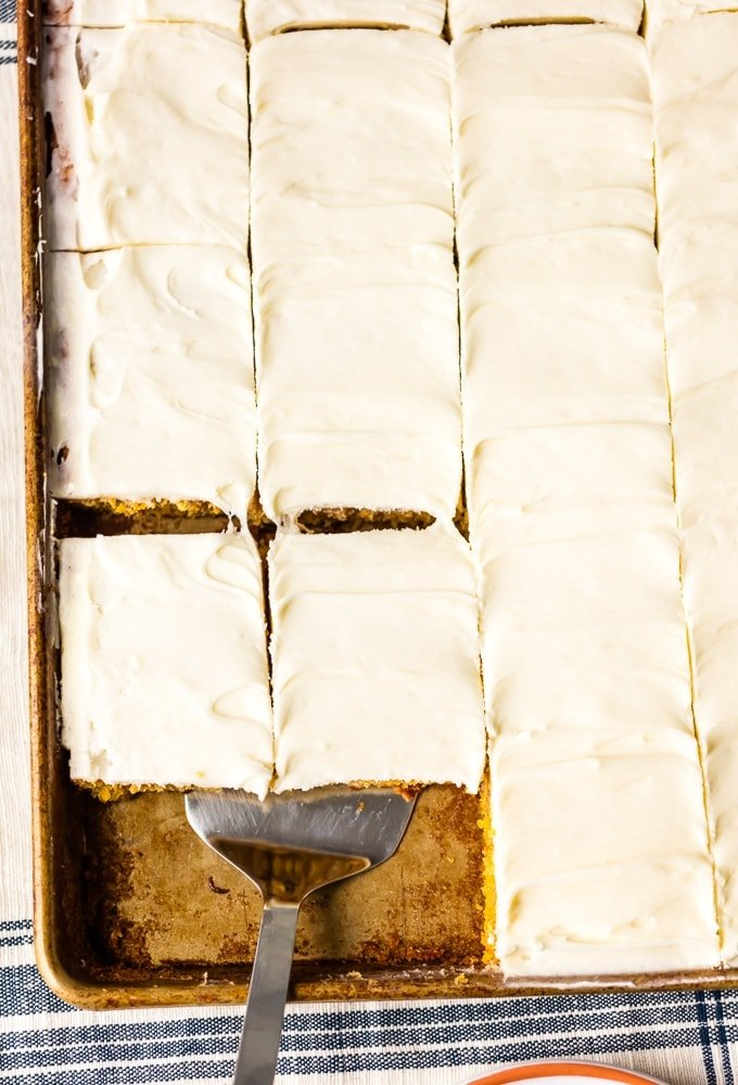 sliced carrot cake bars with cream cheese icing