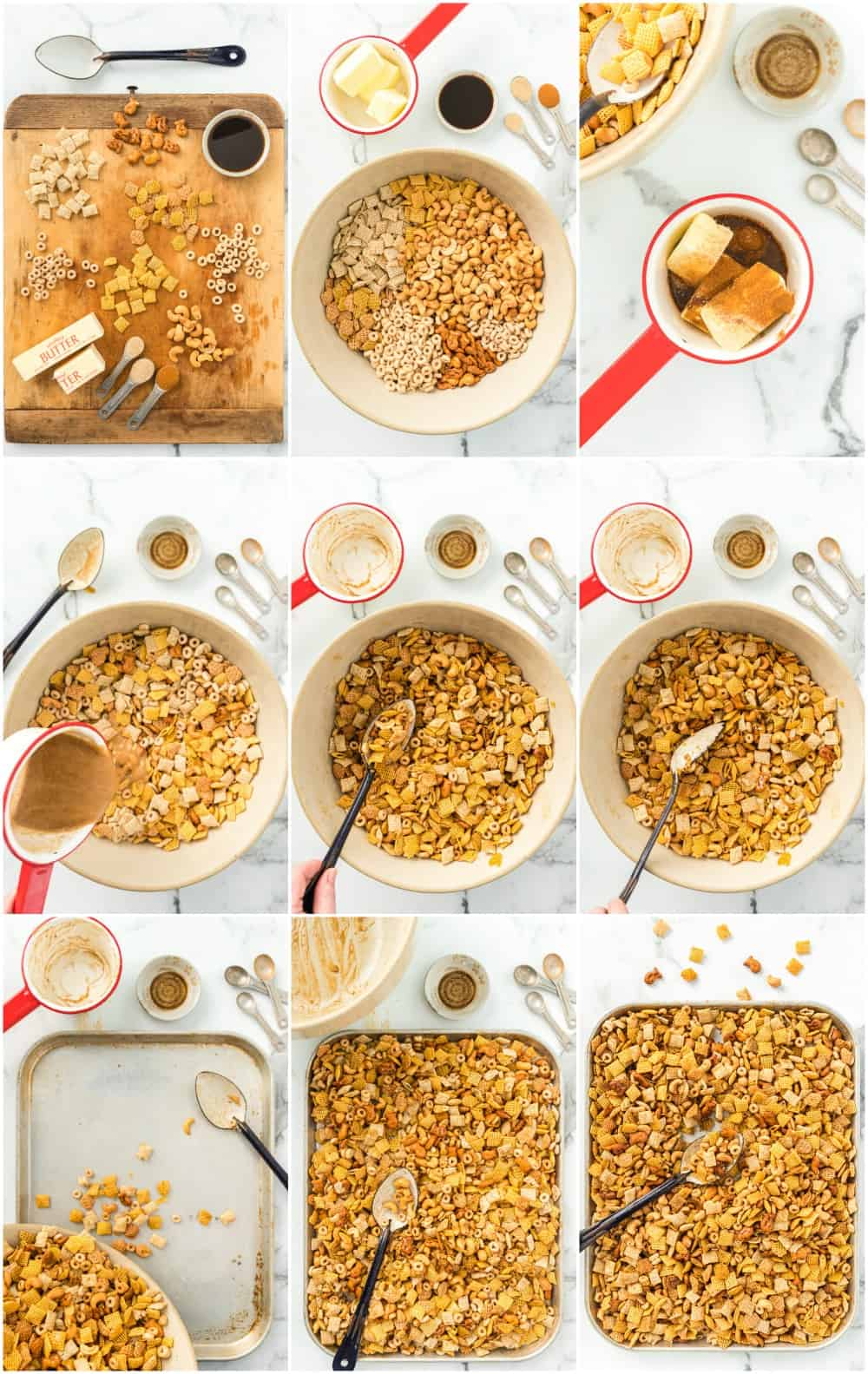 step by step photos of making chex mix - process shots
