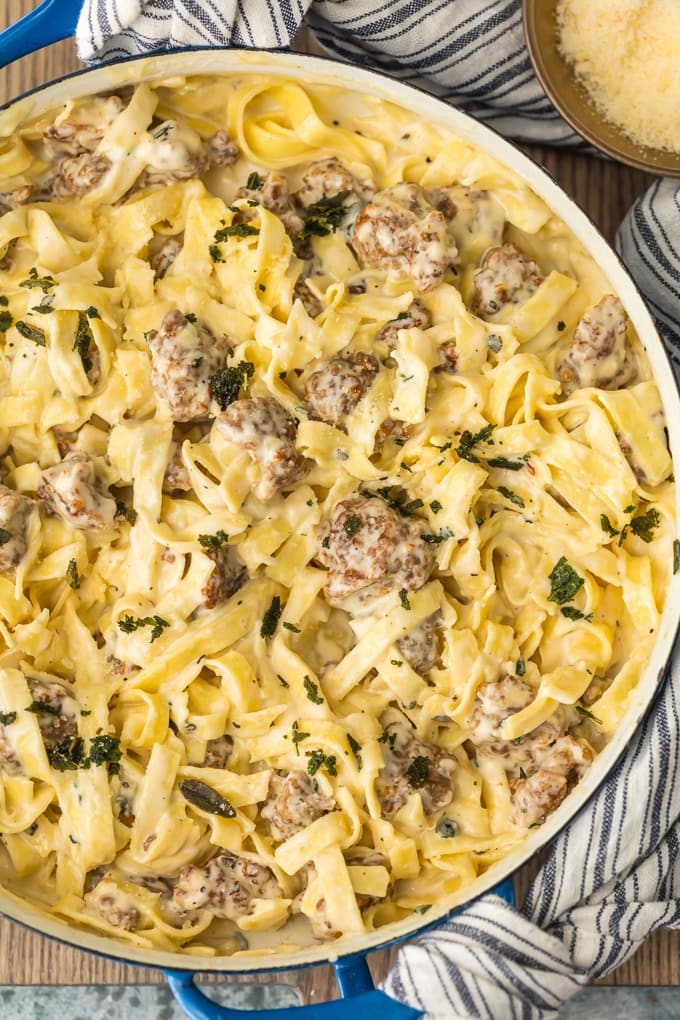Fettuccine Alfredo with Sausage
