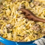 This SAUSAGE ALFREDO recipe is a tasty mix of classic Fettuccine Alfredo and spicy Italian Sausage. A lot of fettuccine recipes feature chicken or seafood, but there just aren't enough Sausage Pasta Recipes out there. This Italian Sausage Pasta recipe is the perfect pasta dish for your next dinner!