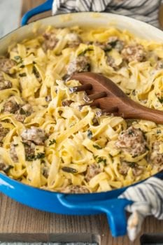 This SAUSAGE ALFREDO recipe is a tasty mix of classic Fettuccine Alfredo and spicy Italian Sausage. A lot of fettuccine recipes feature chicken or seafood, but there just aren't enough Sausage Pasta Recipes out there. This Italian Sausage Pastarecipe is the perfect pasta dish for your next dinner!