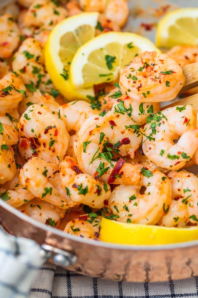 Sauteed shrimp with garlic, lemon, and chili paste