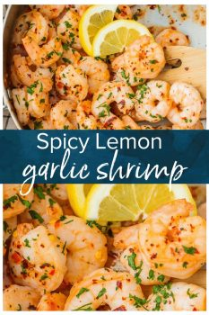 This lemon garlic butter shrimp recipe is so easy to make and just the right amount of spicy. Eat this garlic shrimp as an appetizer, main dish, or use it for tacos or salads.