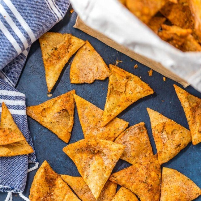 homemade cool ranch doritos on table