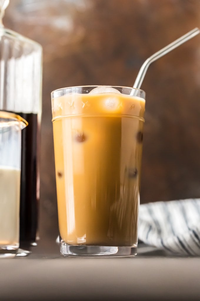 iced coffee with cream in a tall glass