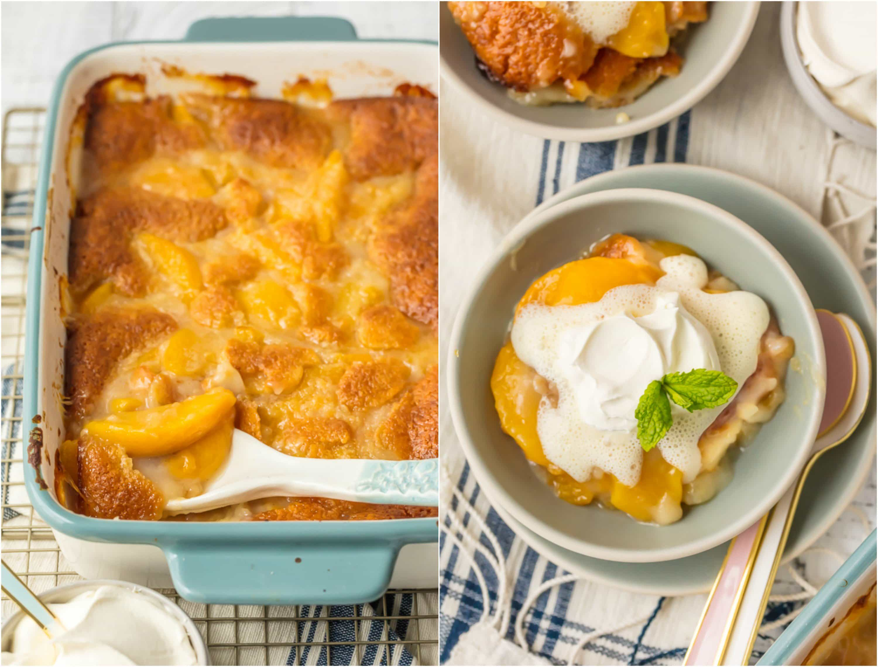 EASY Peach Cobbler Recipe is the stuff Summer recipe dreams are made of! This Best Peach Cobbler Recipe is so simple and only has 6 Ingredients (7 if you count the whipped cream). Peach Cobbler with Canned Peaches can be made year round and is so full of flavor you'll swear it was made by Grandma. It's a must make for every holiday including Easter, 4th of July, Thanksgiving, and Christmas!