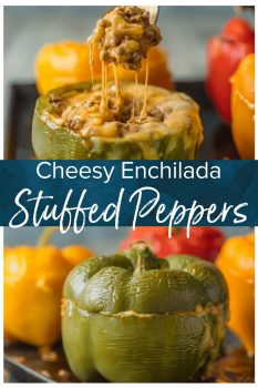 This Stuffed Peppers recipe is our go-to easy dinner recipe. This Cheesy Enchilada Stuffed Bell Peppers recipe is loaded with beef, green chiles, onions, enchilada sauce, & so much cheese!