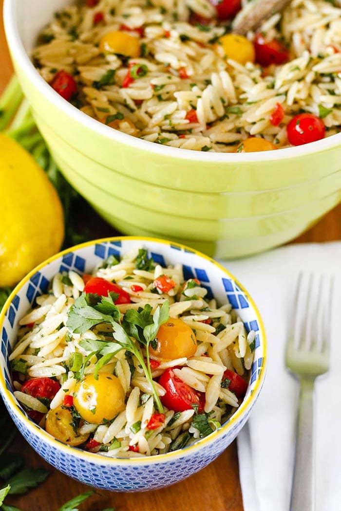 Lemony Basil Orzo Salad | Unsophisticook