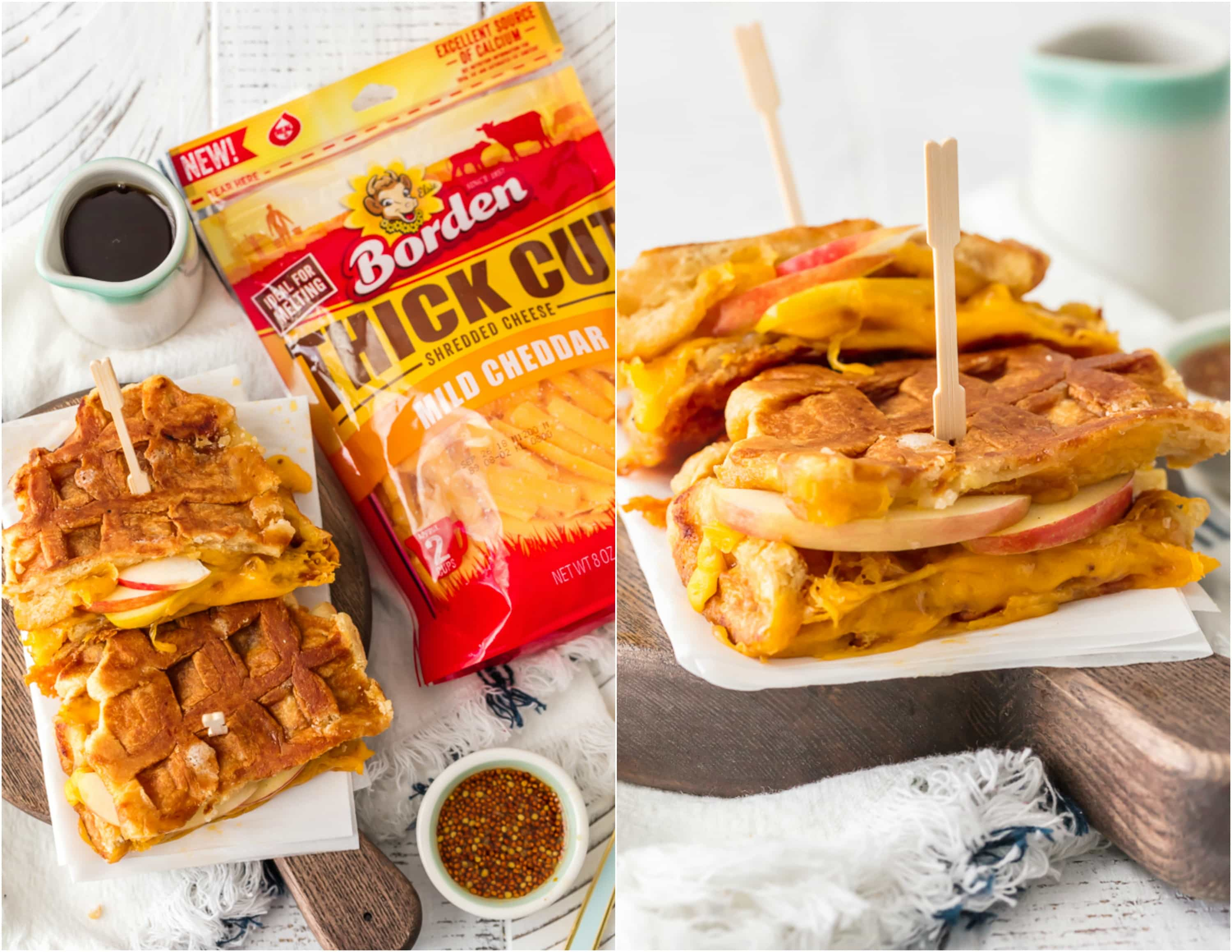This Apple Cheddar Waffle Sandwich is a fun and easy Waffle Grilled Cheese recipe with only 5 ingredients! The simple flavors of the maple dijon sauce blend perfectly with the creamy cheddar, crisp apples, and sweet waffles. This is such an awesome brunch or lunch recipe that everyone in the family will crave again and again. Cheese lovers unite!