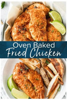 oven fried chicken on plate - pinterest collage