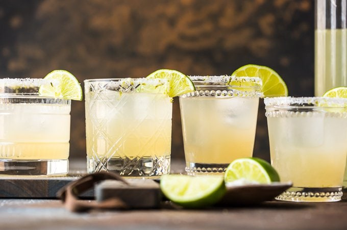 best margarita recipe in glasses with limes