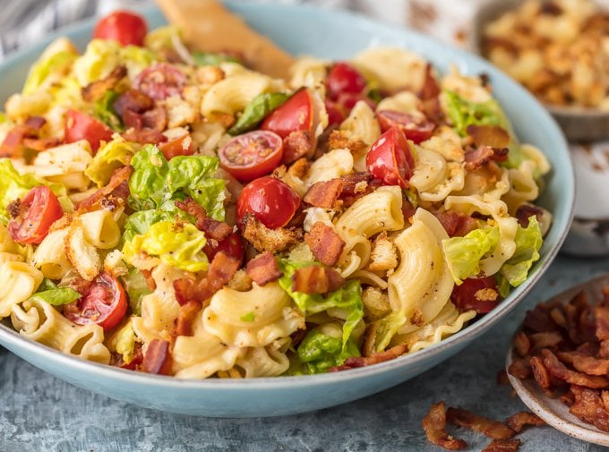 a bowl of blt pasta salad