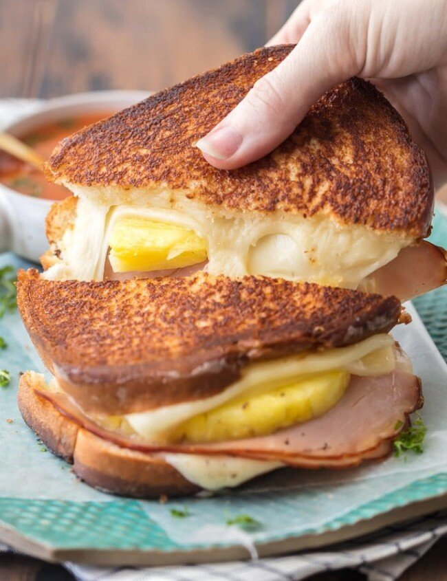 cheese pull of grilled cheese