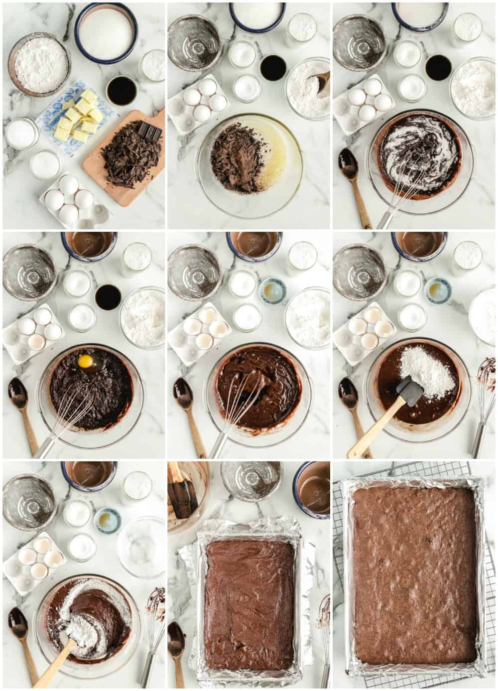 how to make homemade brownies step by step process shots