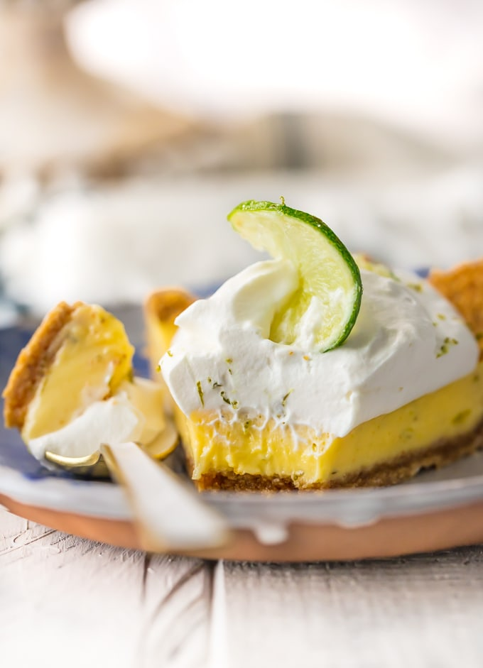 slice of key lime pie on plate