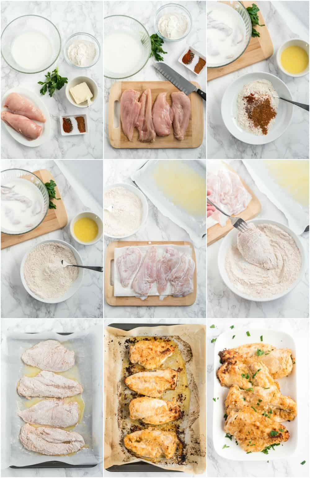 how to make oven fried chicken step by step process shots