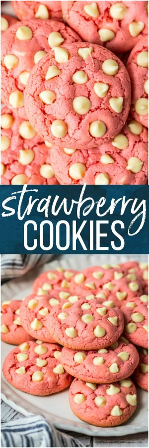 Strawberry Cookies are my favorite Strawberry Cake Mix Cookies! These White Chocolate Strawberry Cake Mix Cookies are so fun and delicious, and so super easy! Fun, festive, and SUPER SIMPLE! Strawberry Cookies with White Chocolate Chips are the perfect Pink Cookies for Valentine's Day, Easter, baby and wedding showers, and beyond! This Cake Mix Cookies Recipe will blow your mind.